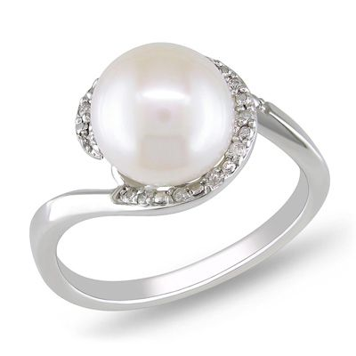 Cultured Freshwater Pearl And Diamond Accent Frame Ring In White Gold