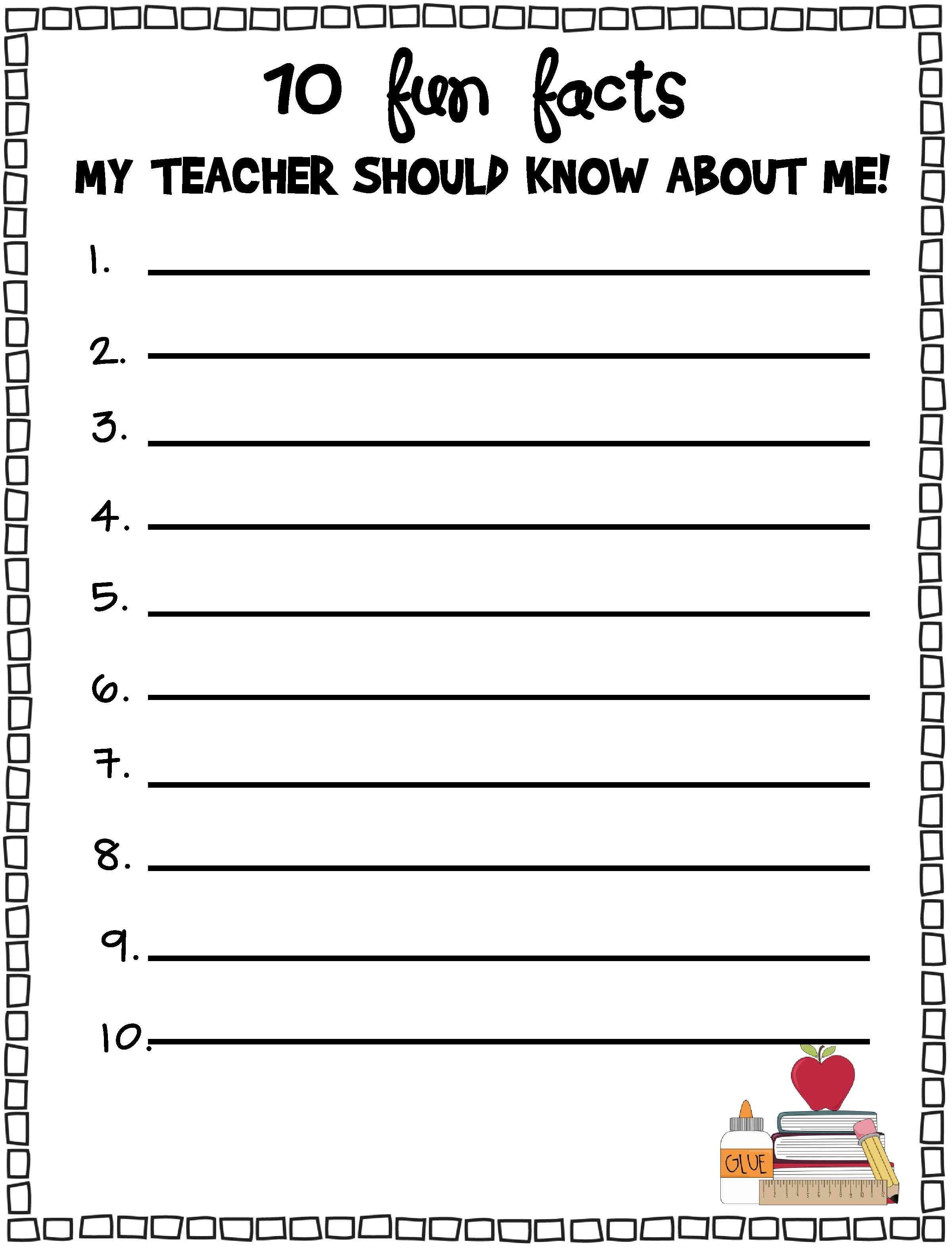 10 Fun Facts My Teacher Should Know About Me Freebie