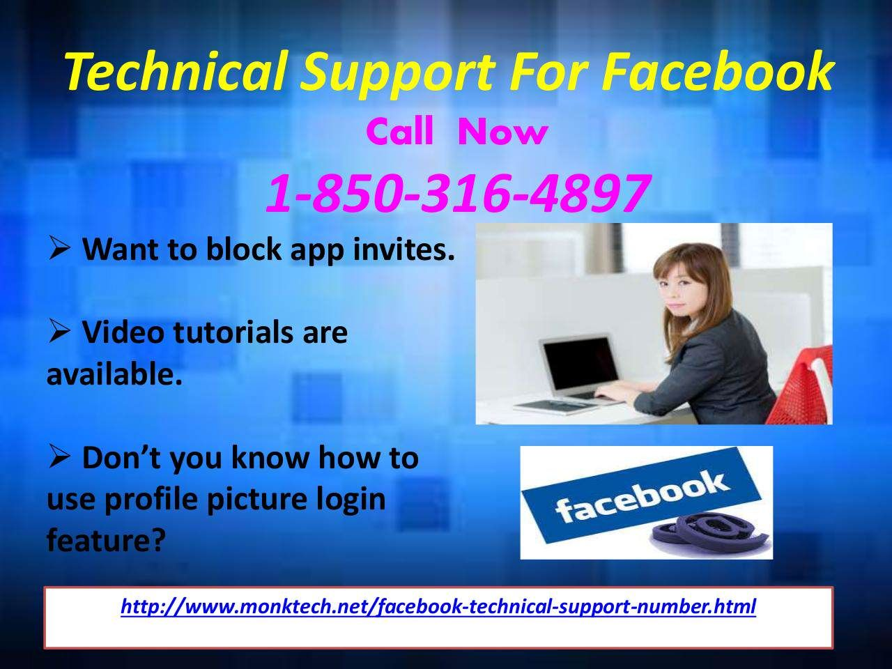 Technical support for facebook services different