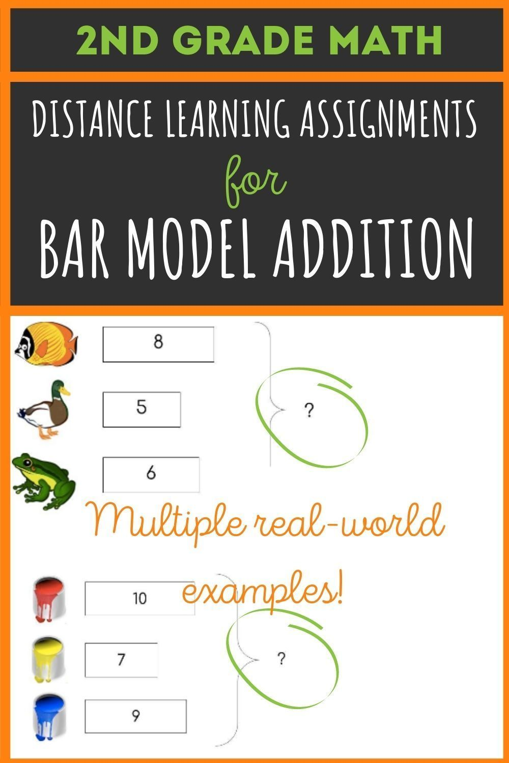 Bar Model Addition For 2nd Grade In 2020 2nd Grade Math Task Cards First Grade Activities