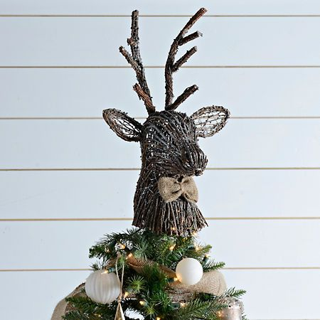 Rattan Deer Head Tree Topper Kirklands Christmas Tree Topper Burlap Woodland Christmas Tree Christmas Tree Themes