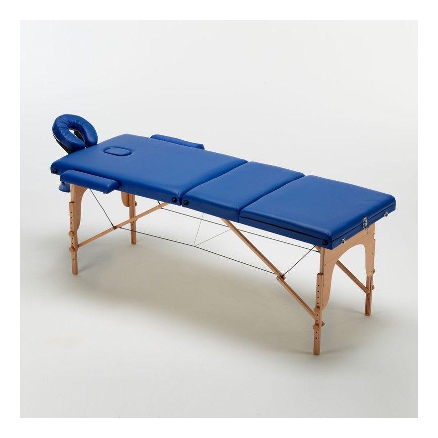Table De Massage Portable Pliante En Bois 3 Zone 215 Cm Reiki Couleur Bleu Bodyline Table De Massage Bain De Soleil Transat Chaise Longue Bois