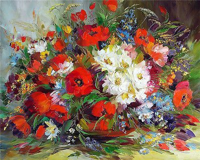 """16x20/"""" DIY Acrylic Paint By Number kit Oil Painting On Canvas Abstract Flower 03"""