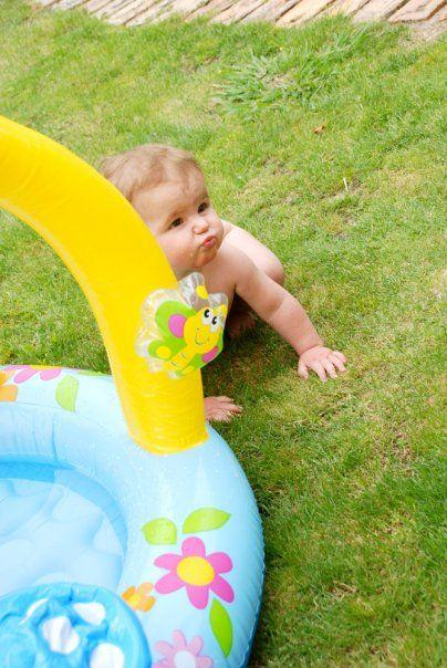 Summery baby in garden with pool kids outdoors for Baby garden pool