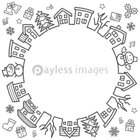 デフォルメした家と木のサークル 手書風線画のみ クリスマスバージョン