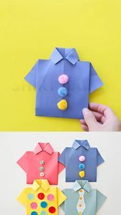 Origami Shirt Vatertagskarte- # CARD #Day #father #Fathers #origami #shirt   - Kunst
