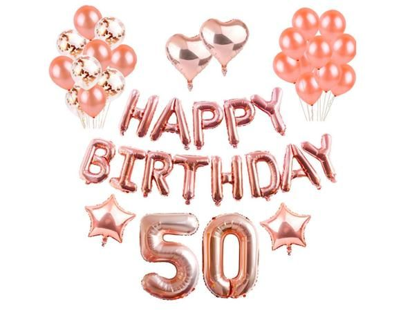 50th Party Decorations 50 Birthday Rose Gold Years Old Supplies Wedding