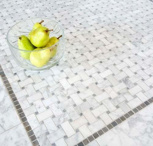 unusual porcelain basket weave tile. Bianco Carrara and Bardiglio Marble Basketweave Mosaic Tile with marble Lagos Azul dots