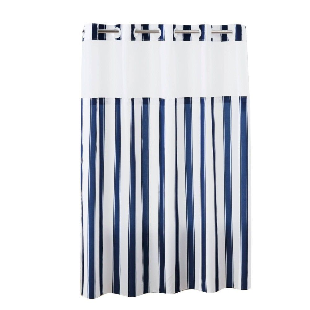 Stripes Shower Curtain With Liner Navy Hookless Striped Shower