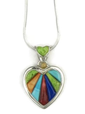 Colorful multi gemstone sculpted inlay heart pendant native colorful multi gemstone sculpted inlay heart pendant native american inlay heart pendant with turquoise mozeypictures Image collections