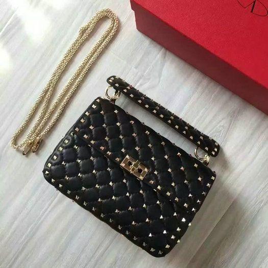 2b4ac9f008 2016 F W Valentino Garavani Rockstud Spike Medium Bag in Black Leather