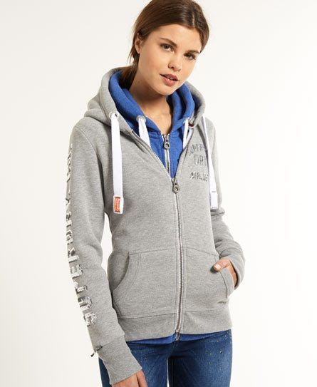 Superdry Sweat à capuche zippé Track & Field Gris