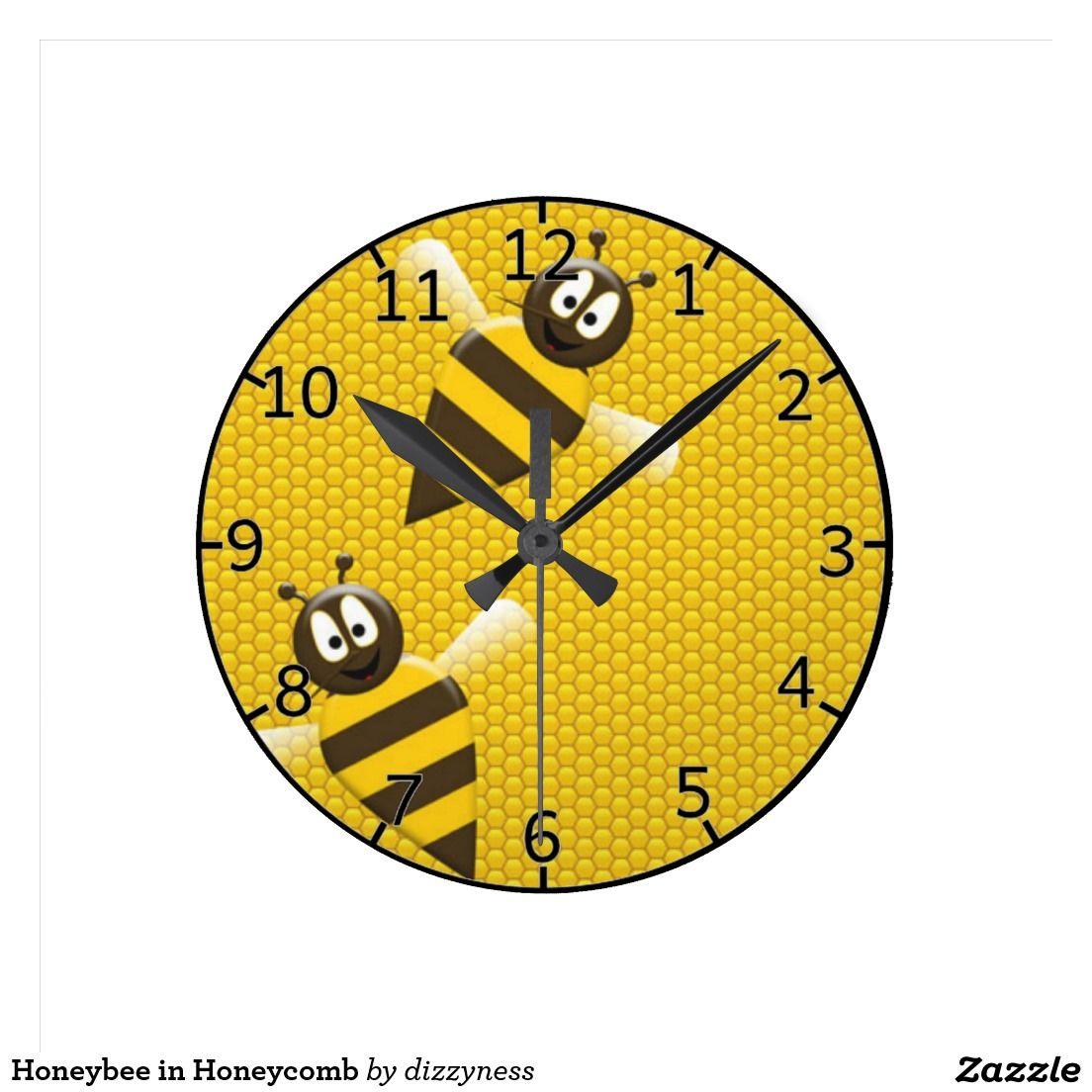 Honeybee in Honeycomb Round Wall Clock