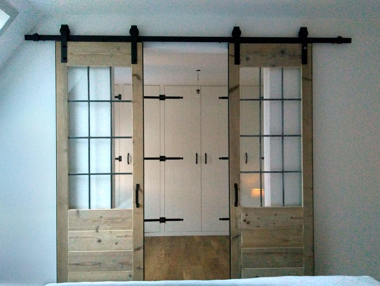 Nieuw Loftdeuren kamer ensuite met stalen frame steigerhout/sloophout en DK-36