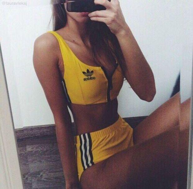Adidas Sport Tank Top Bra Panty Shorts Underwear Set Bikini Swimwear Swimsuit