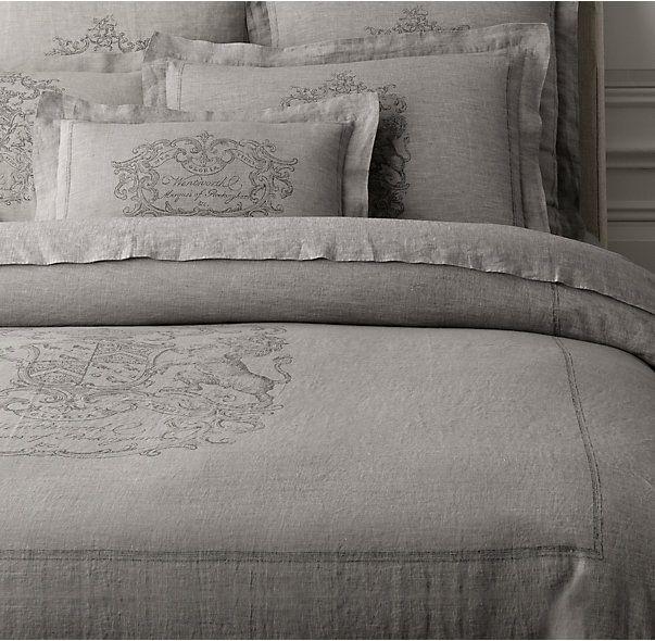 wentworth crest vintage-washed belgian linen duvet cover | napa