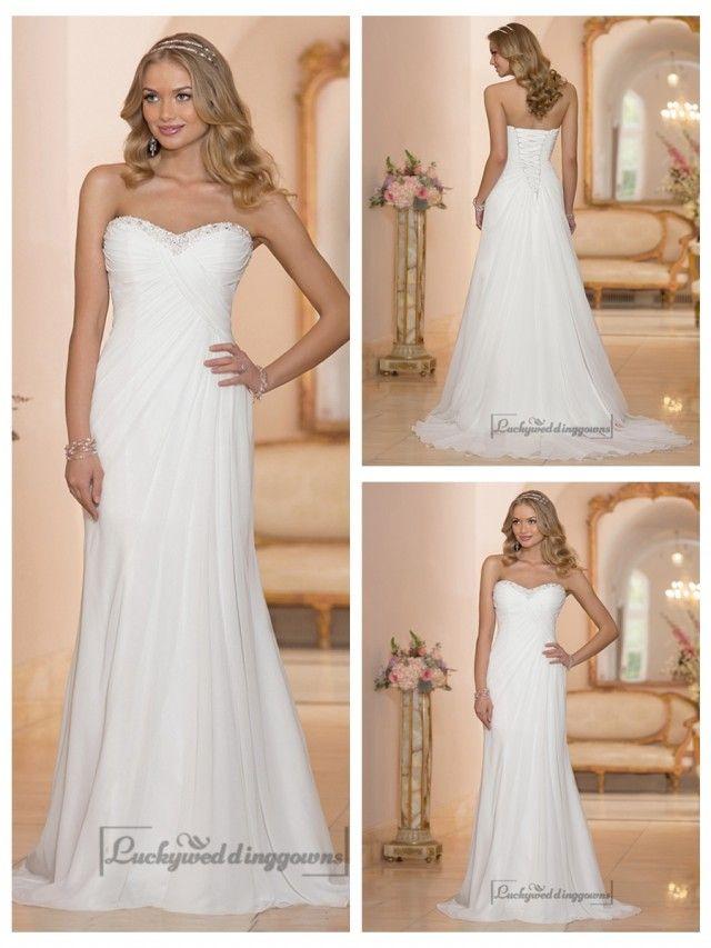 Chiffon Sheath Sweetheart Criss Cross Ruched Bodice Wedding Dresses ...