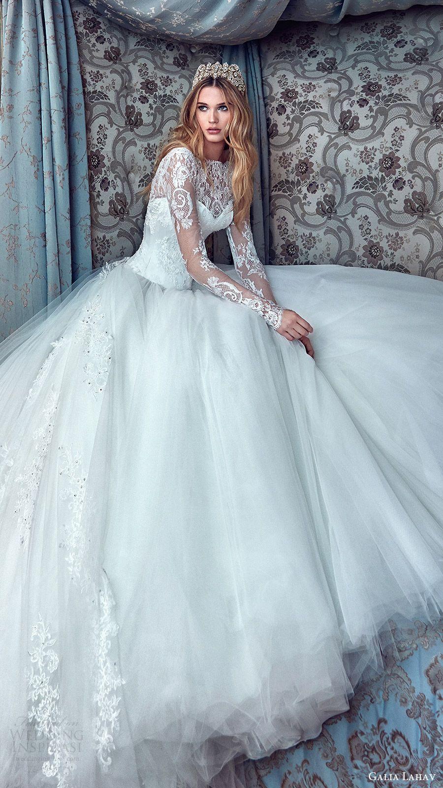 Galia lahav bridal spring long sleeves high neck ball gown