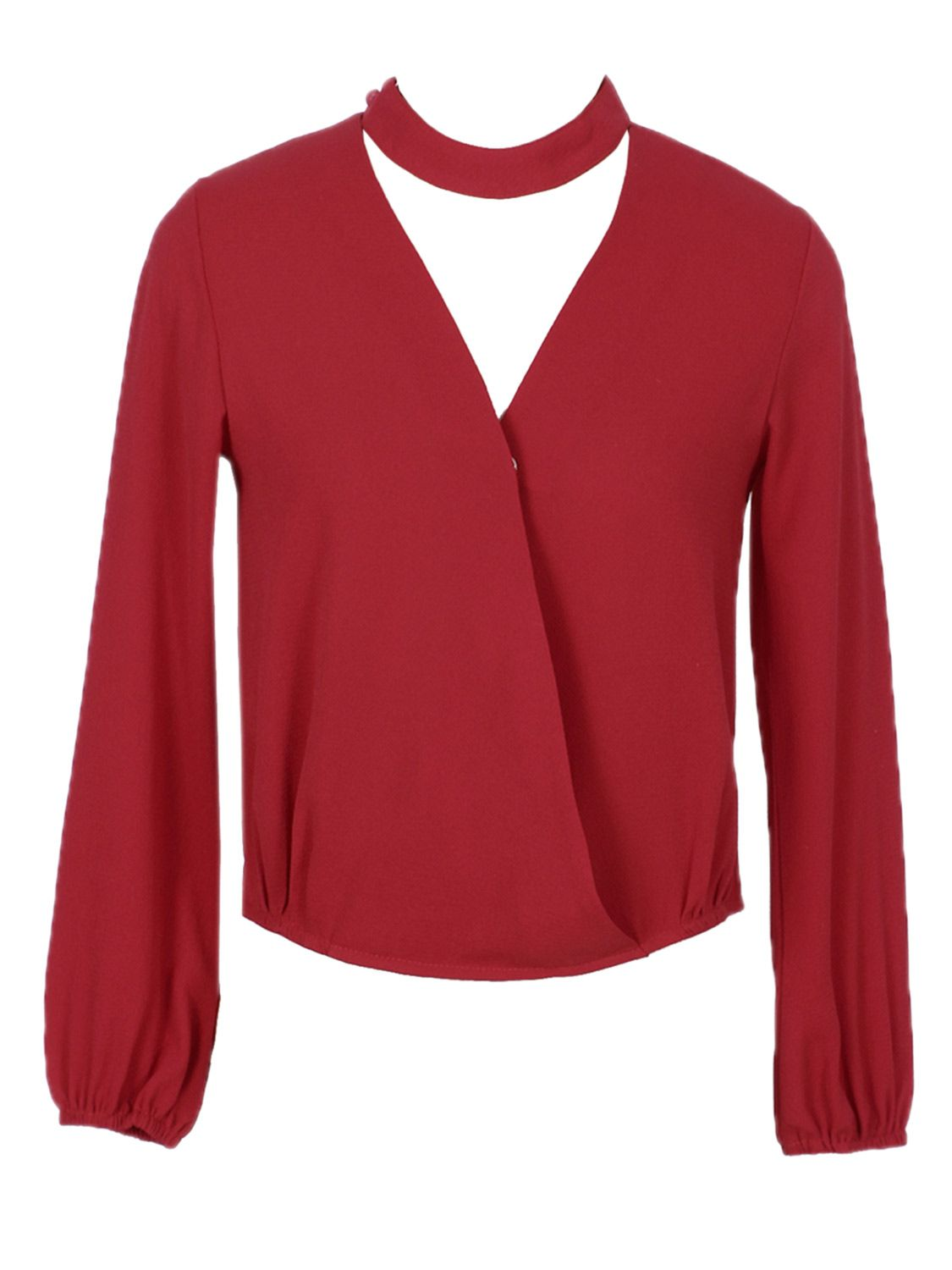 33571de404 Buy Red V-neck Wrap Front Choker Detail Dipped Blouse from abaday ...