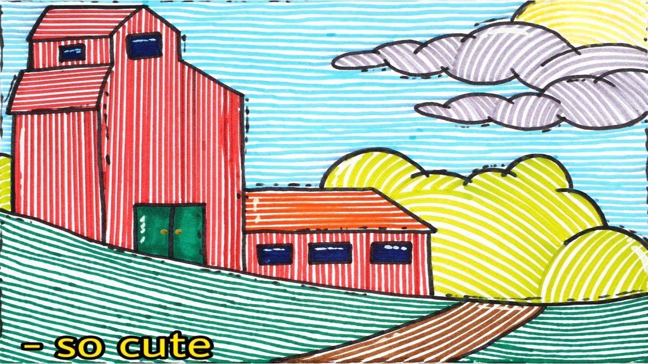 تعليم الرسم رسم سهل رسم خيالي تخطيطي بألوان مائية مرة كيوت منزل