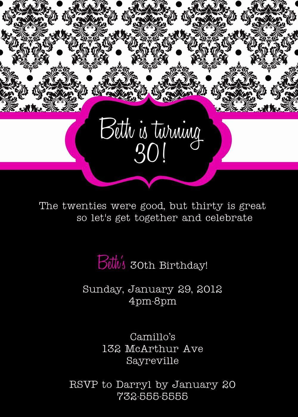 Free Birthday Party Invitation Templates Lovely Free Printable Birt 30th Birthday Party Invitations 16th Birthday Invitations Birthday Invitation Card Template