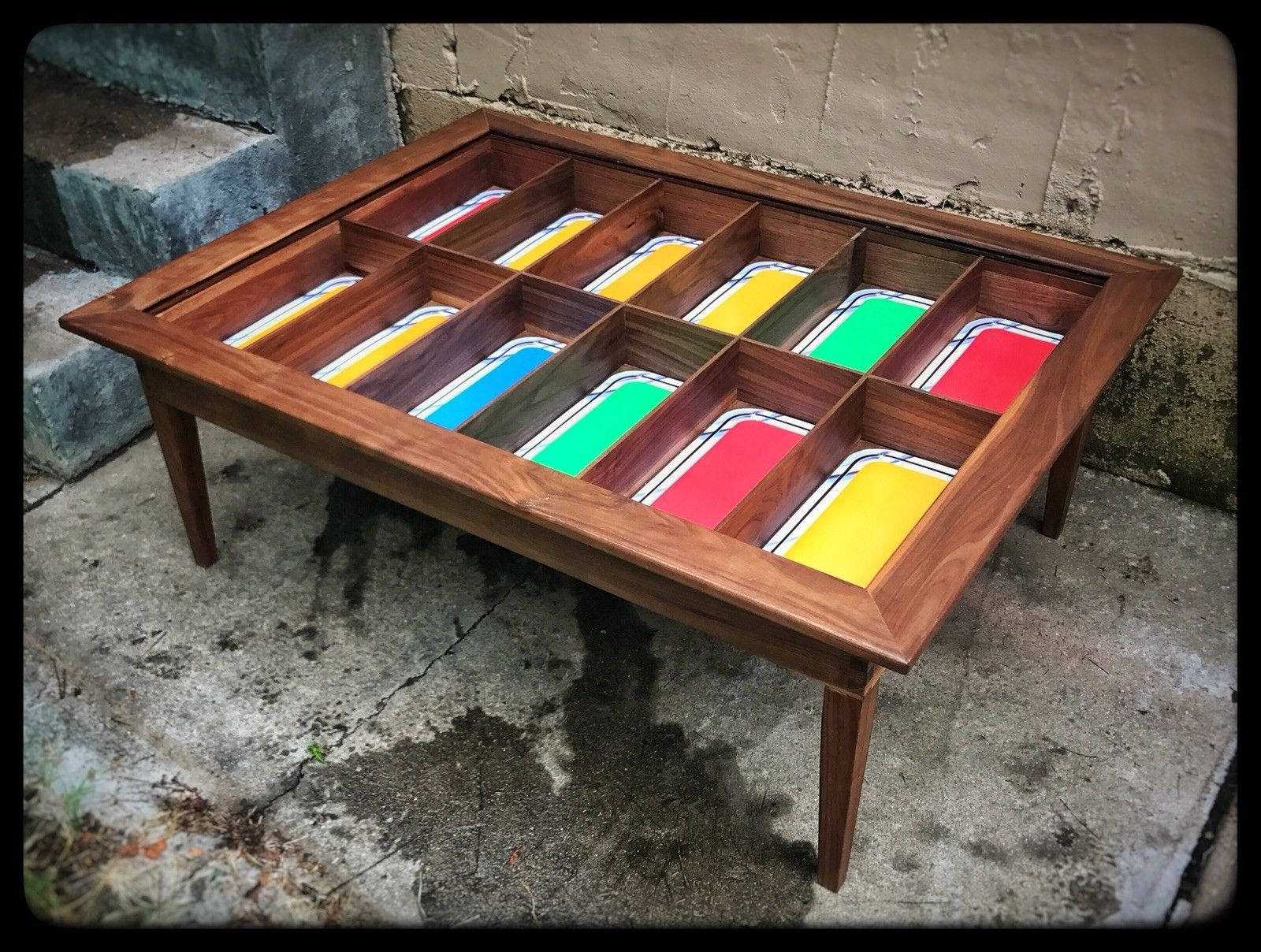 Handmade Walnut Shadow Box Coffee Table For Vintage 12 Inch Star