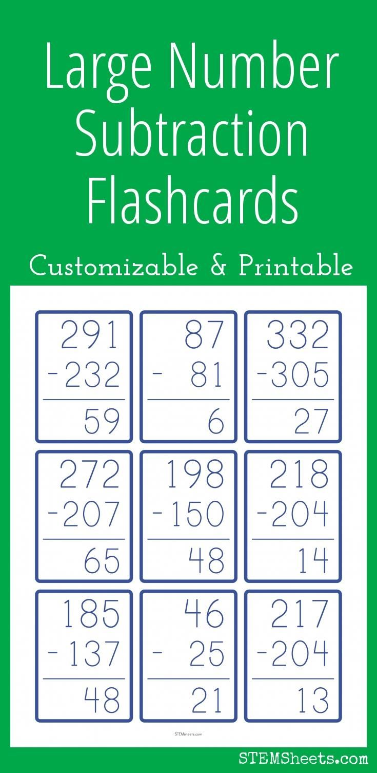 Large Number Subtraction Flashcards - Customizable and Printable ...