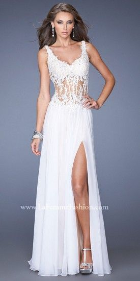 An alluring corset bodice paired with a sensual chiffon skirt and ...