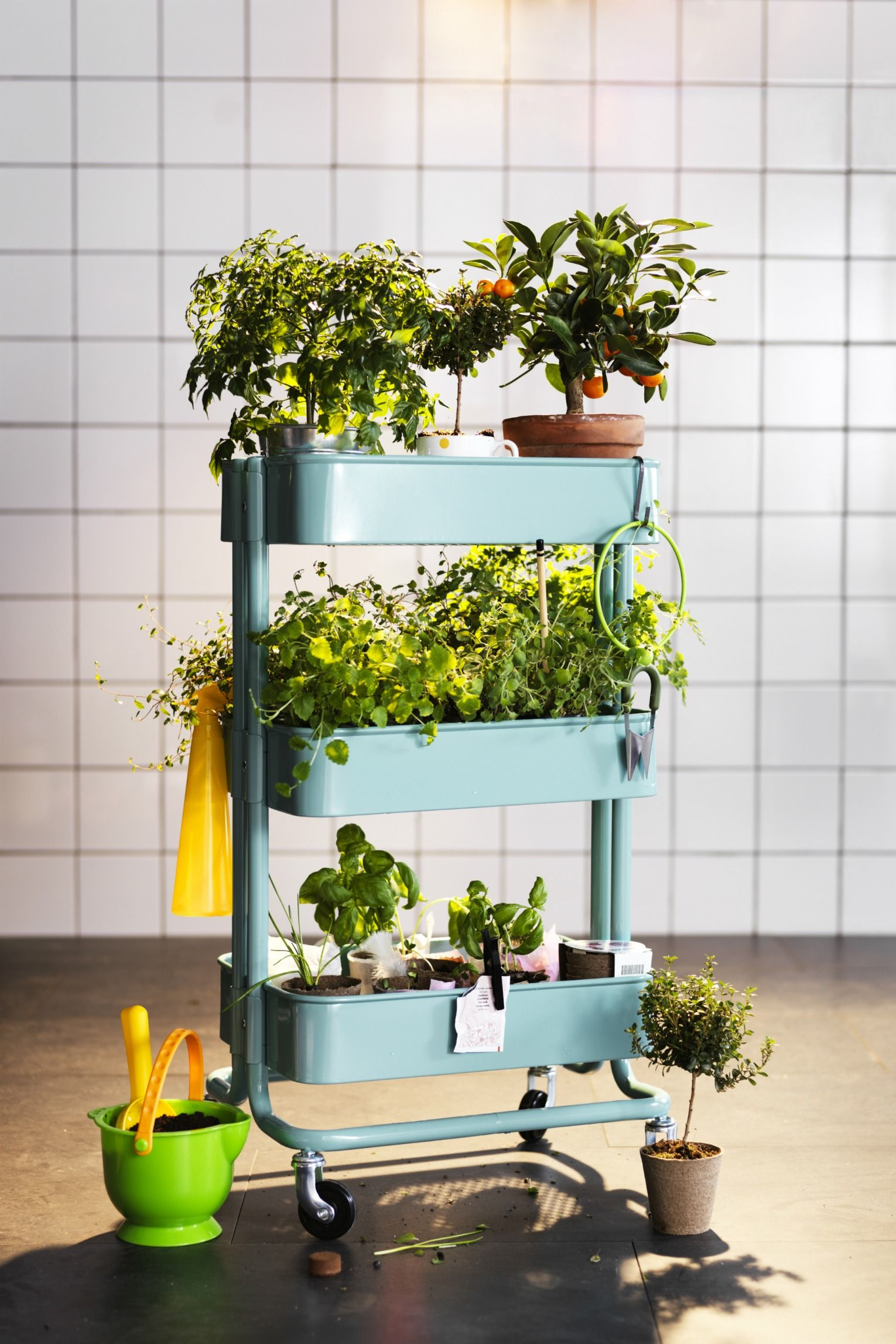 Create your own little garden on wheels with the ikea for Ikea plantes