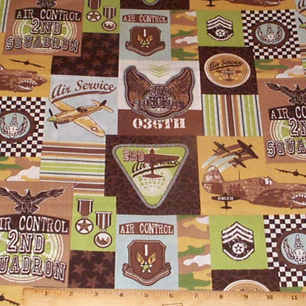 Retro Airplanes Patch Fabric by Yards Cotton Marcus Brothers | eBay