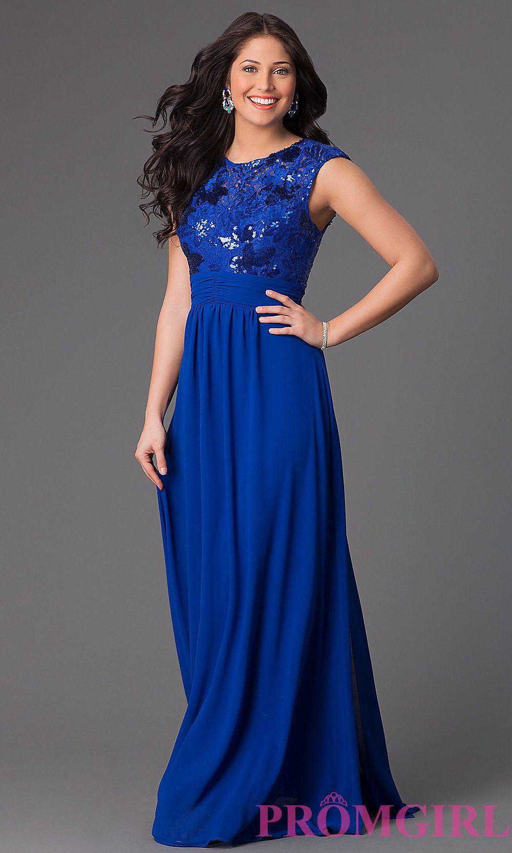 Dress lace dress long dress black dress sequins lace blue dress - Sleeveless Long Sequin And Lace Bodice Dress