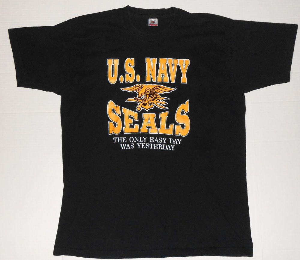 Black t shirt xxl - Vintage U S Navy Seals Black T Shirt Xxl 2xl Usa Only Easy Day Was Yesterday