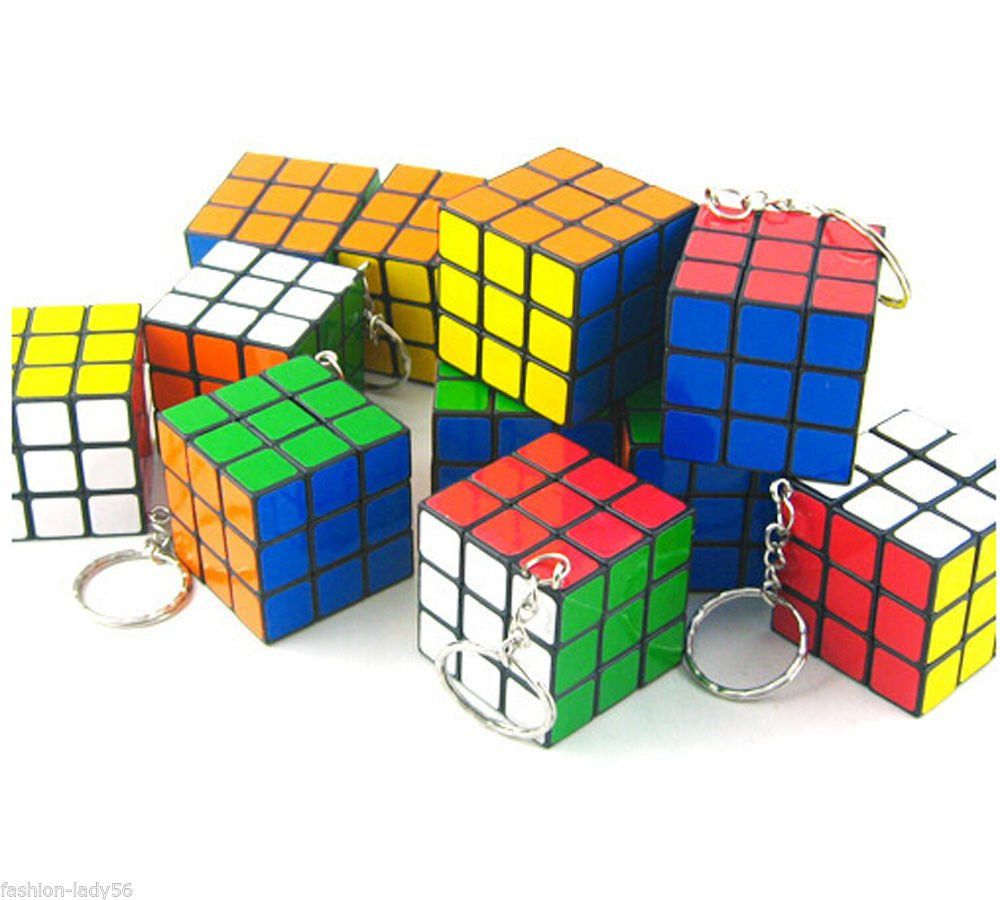 12pc Mini Keychain 3*3*3 Rubik Cube Puzzle Magic Game Toy 12pc Party Nice Ideas