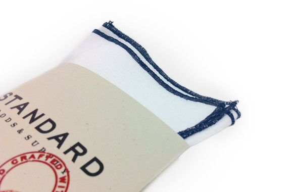 White Pocket Square serged with Navy Blue by StandardGoodsSupply, $10.00https://www.etsy.com/listing/109859251/white-pocket-square-serged-with-navy?ref=listing-0