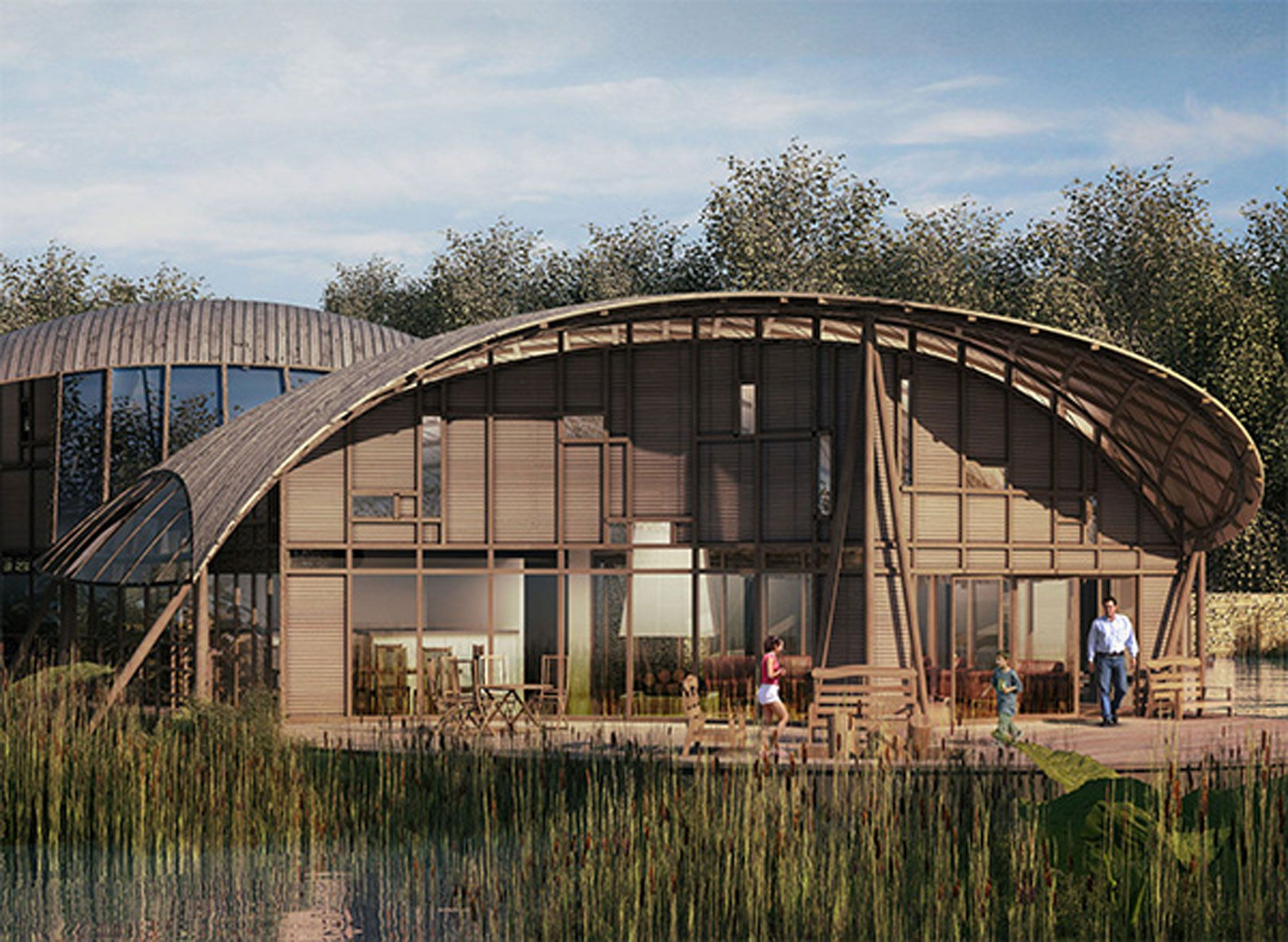 Sustainable Wooden Home Design In England   Lake #greenbuiding #design