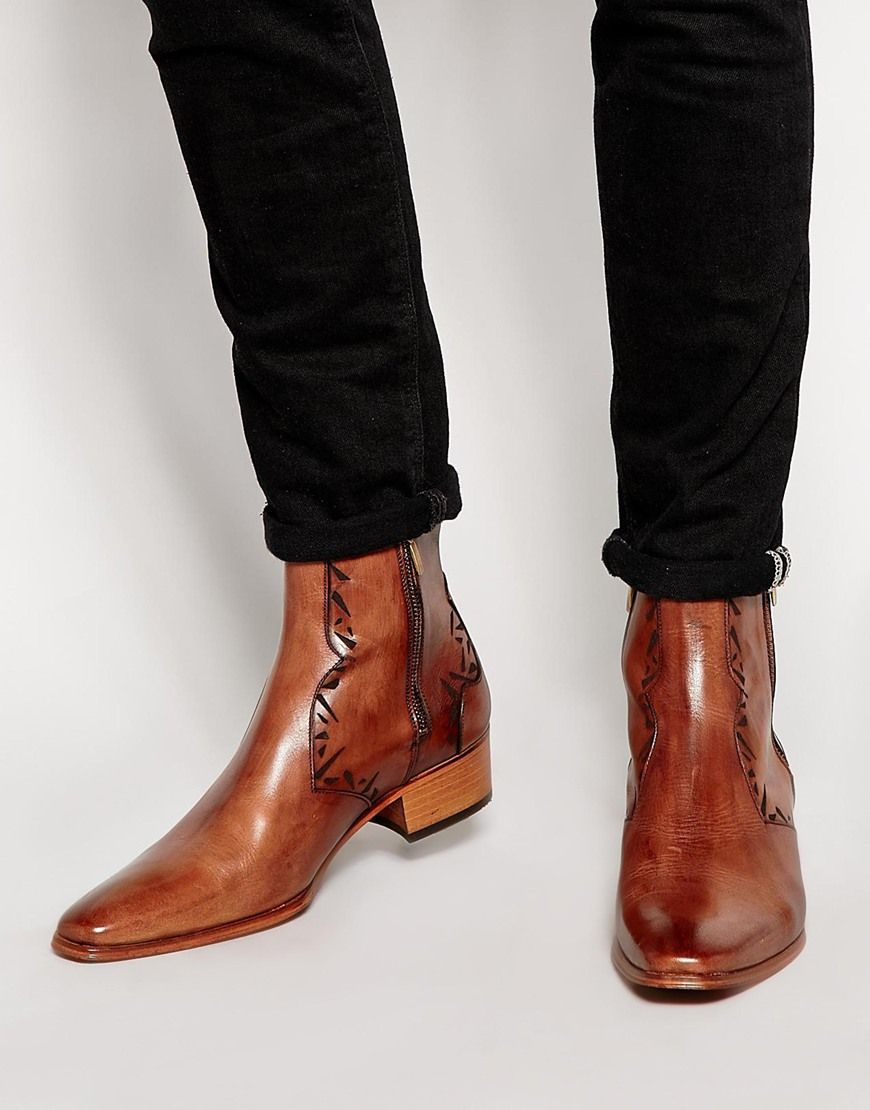 Discount Jeffery-West Polished Leather Boots Blue Smart Shoes for Men Online Sale