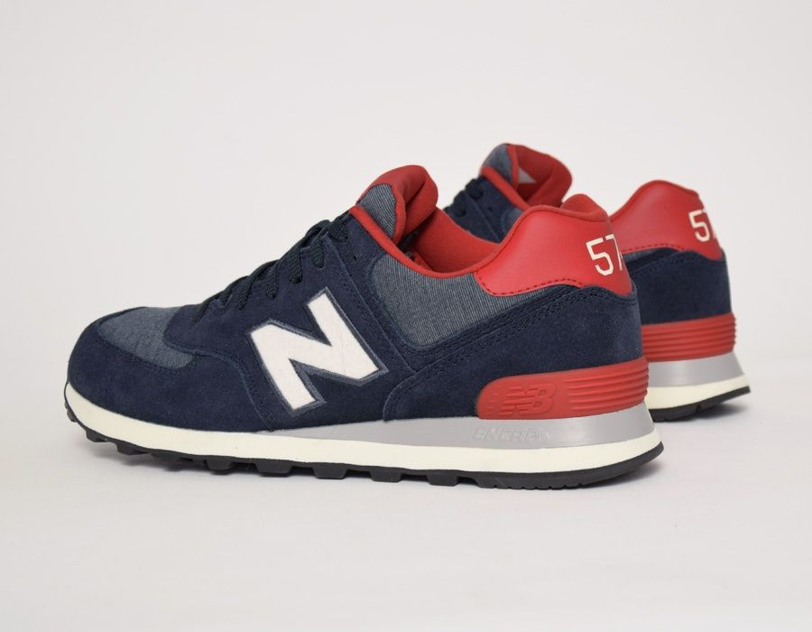 new balance 574 white \/navy textile trainers club
