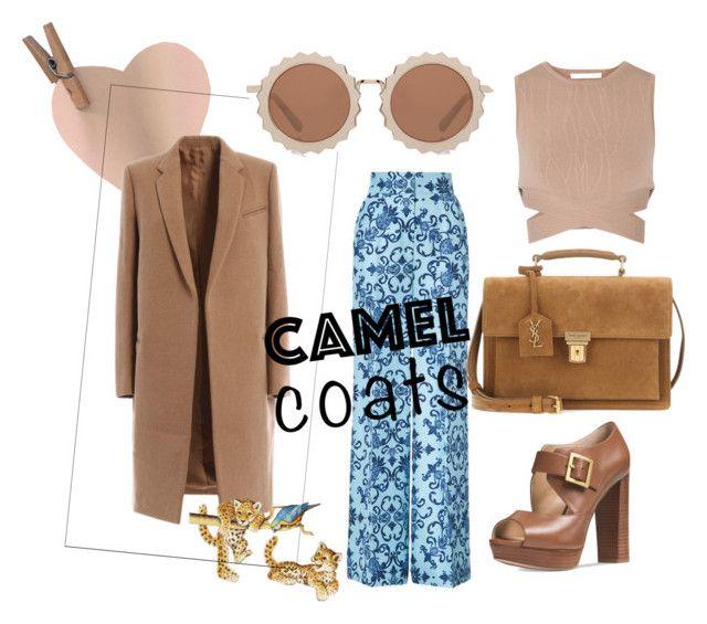 """camel coats"" by toutountzoglou ❤ liked on Polyvore featuring Jonathan Simkhai, ESCADA, Michael Kors, House of Holland and Yves Saint Laurent"