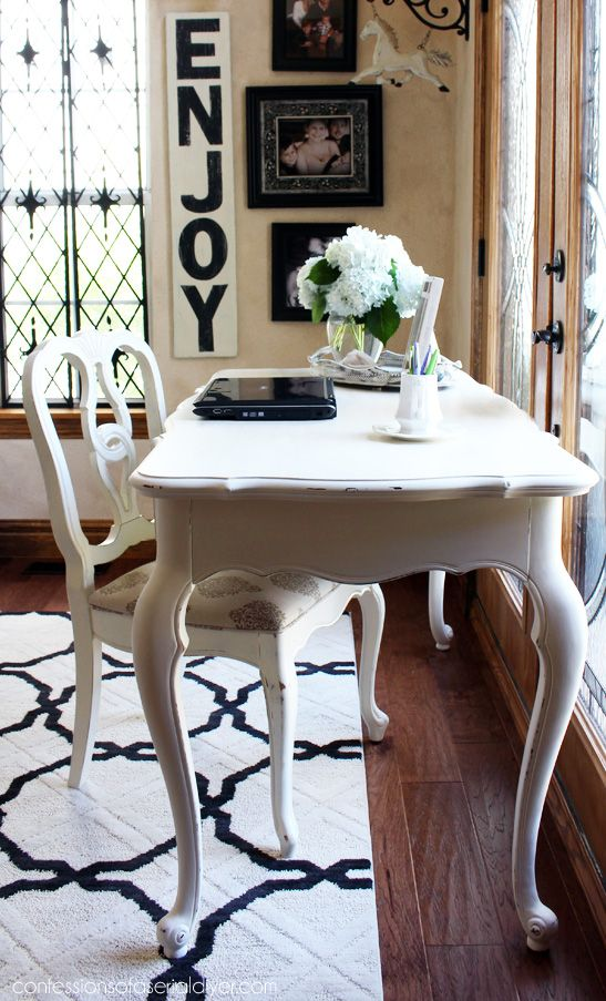 French Provincial Desk Made Over With Cottage White Paint By Behr Into Diy Chalk