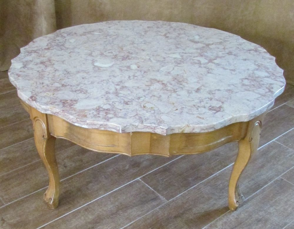 1960s Marble Top Coffee Table Vintage 33 Round 15 High Rose Beige Antique