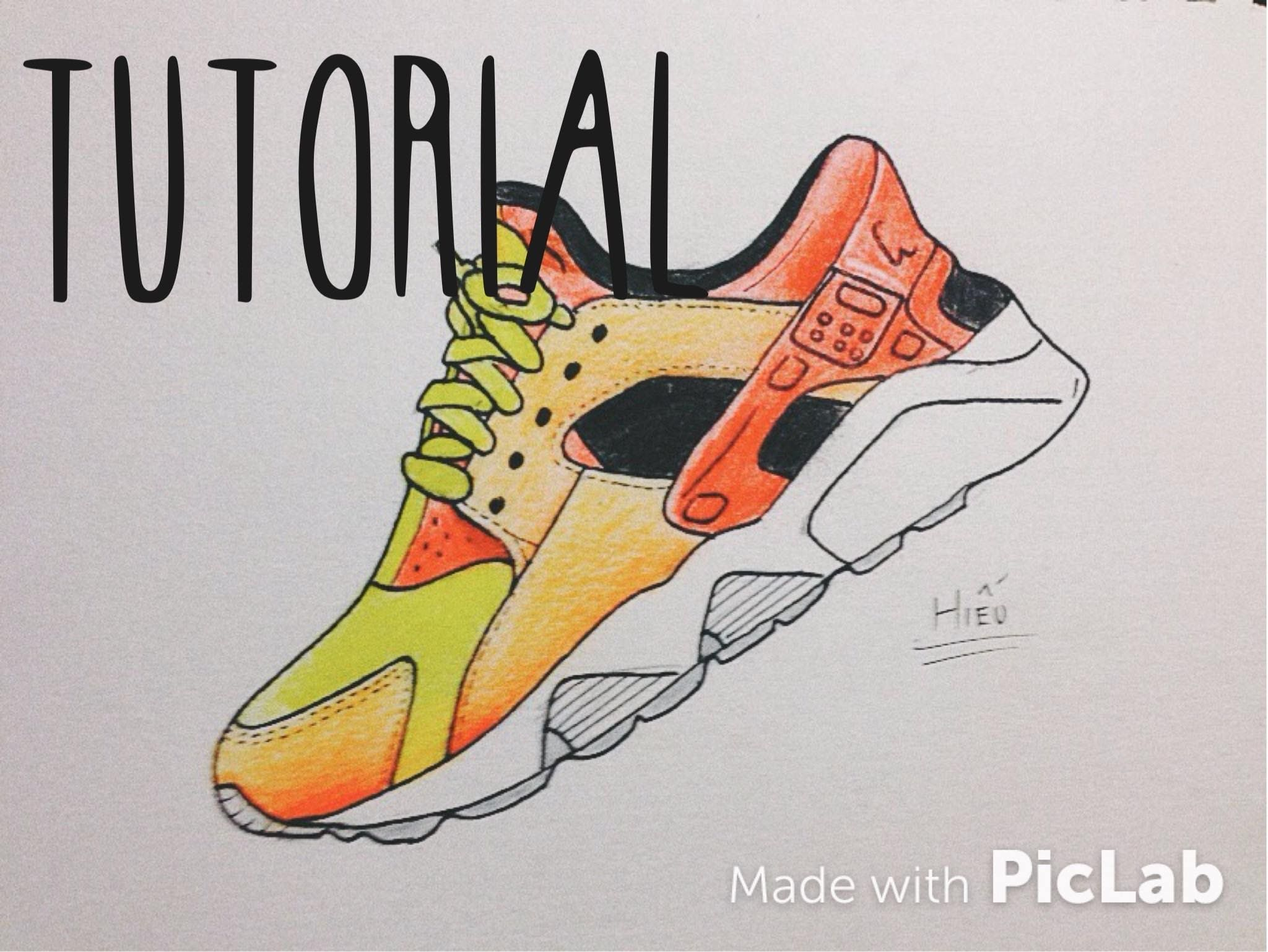 Draw Nike Air Huarache | My First Youtube Video!