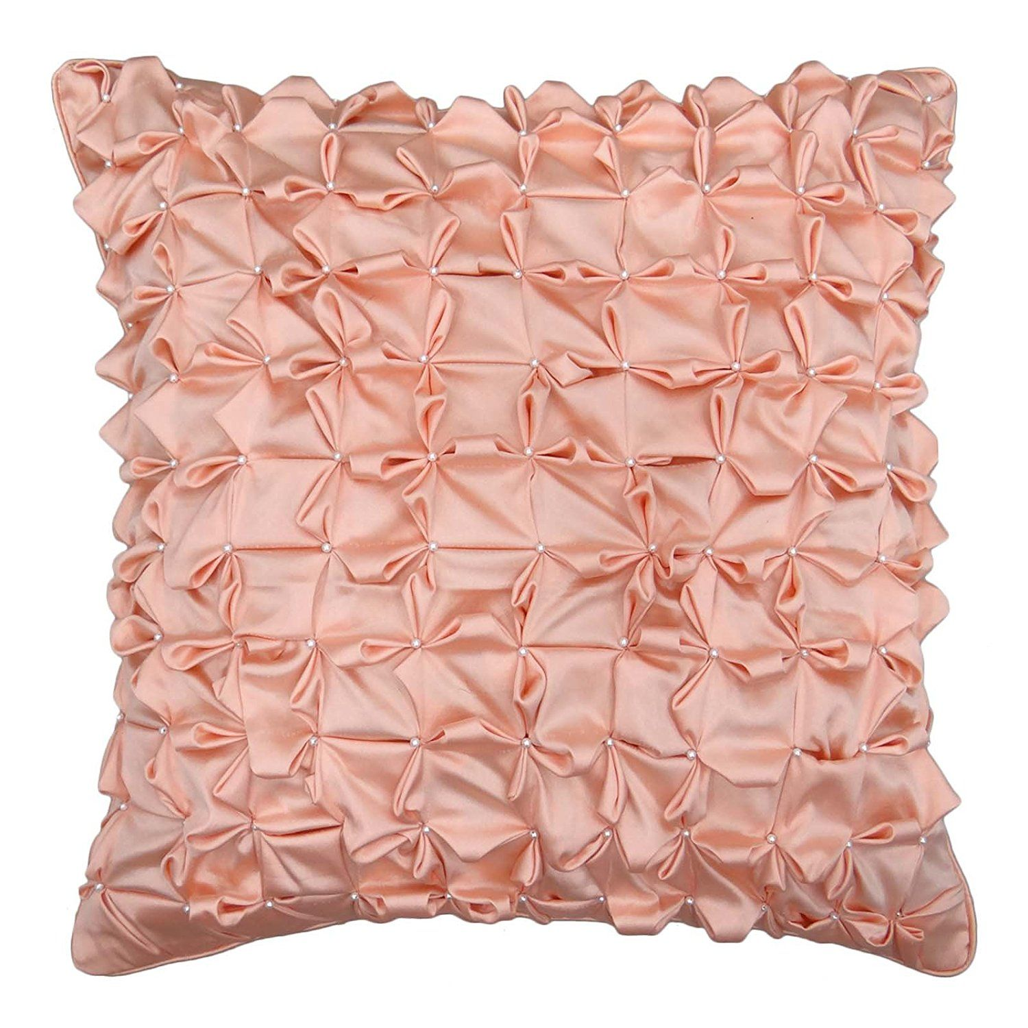 S4sy Decor Handmade Satin Cushion Cover Peach Pillowcase Square Pillow 16 X To View Further For This Item Visit The Image Link