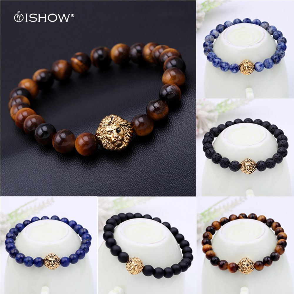 Click to buy ucuc bead buddha bracelet pulseiras masculinas black