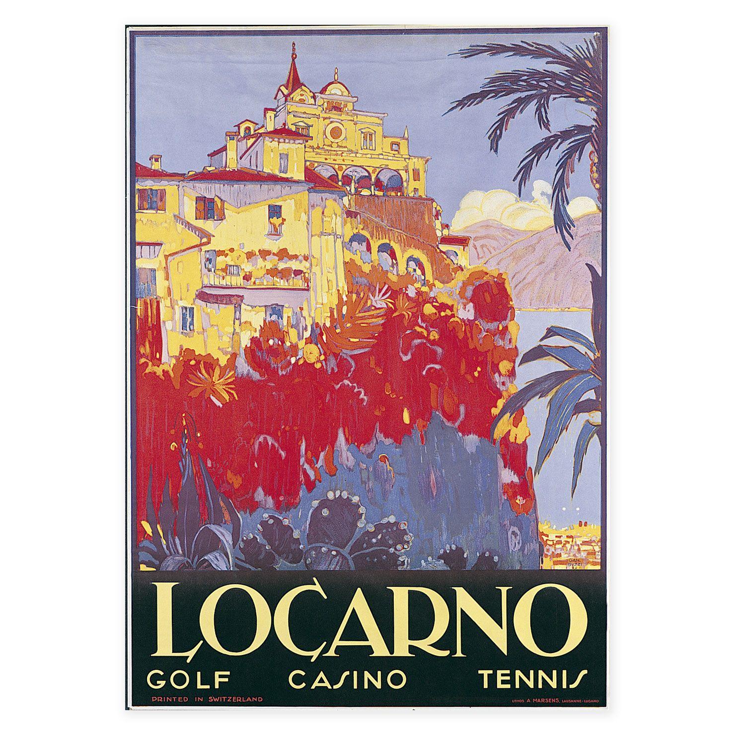 ACHICA   Classic Travel - Locarno, Art Print, 70 x 50 cm   Vintage ...