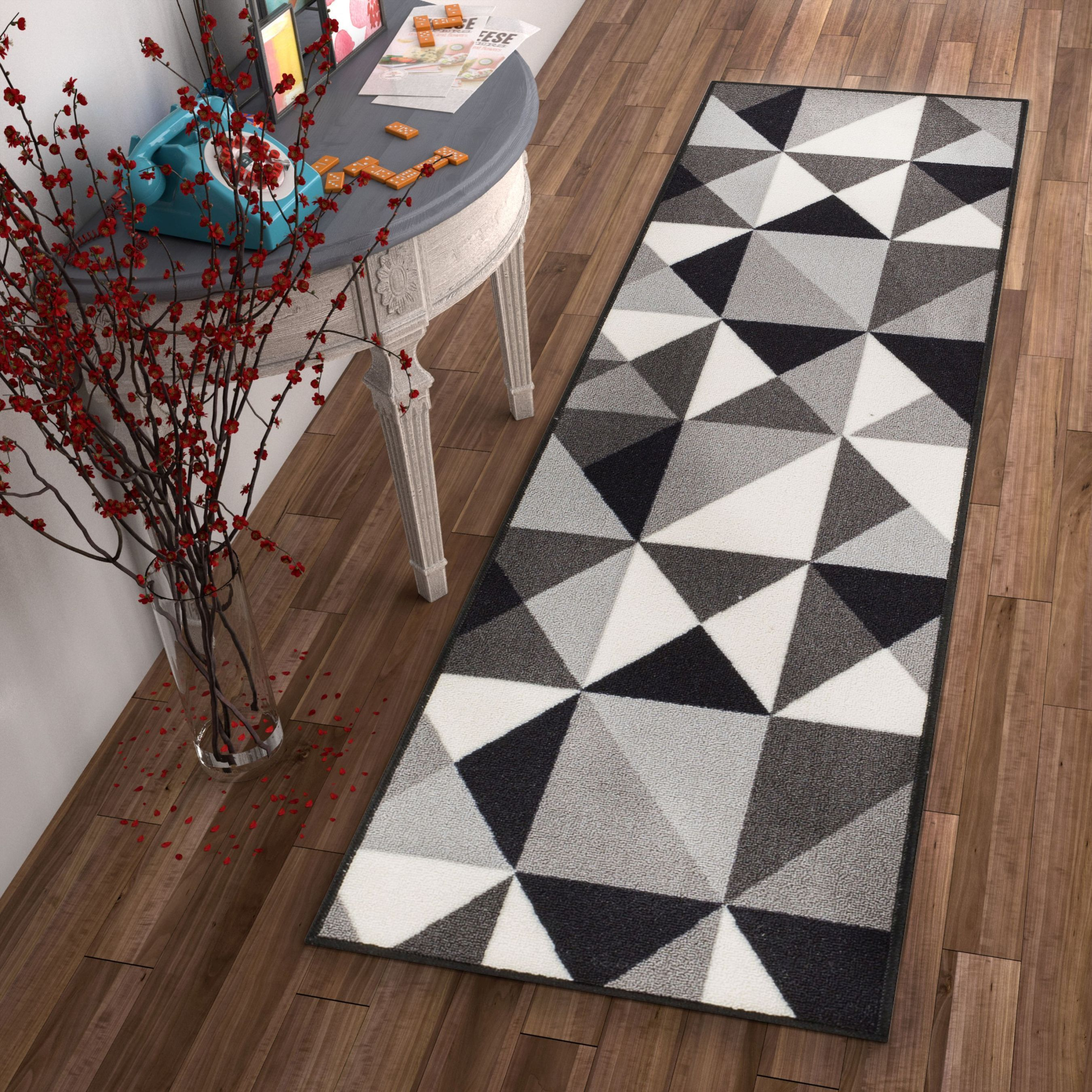 Lex Casual Geo Grey Black White Geometric Modern Non Slip Rubber
