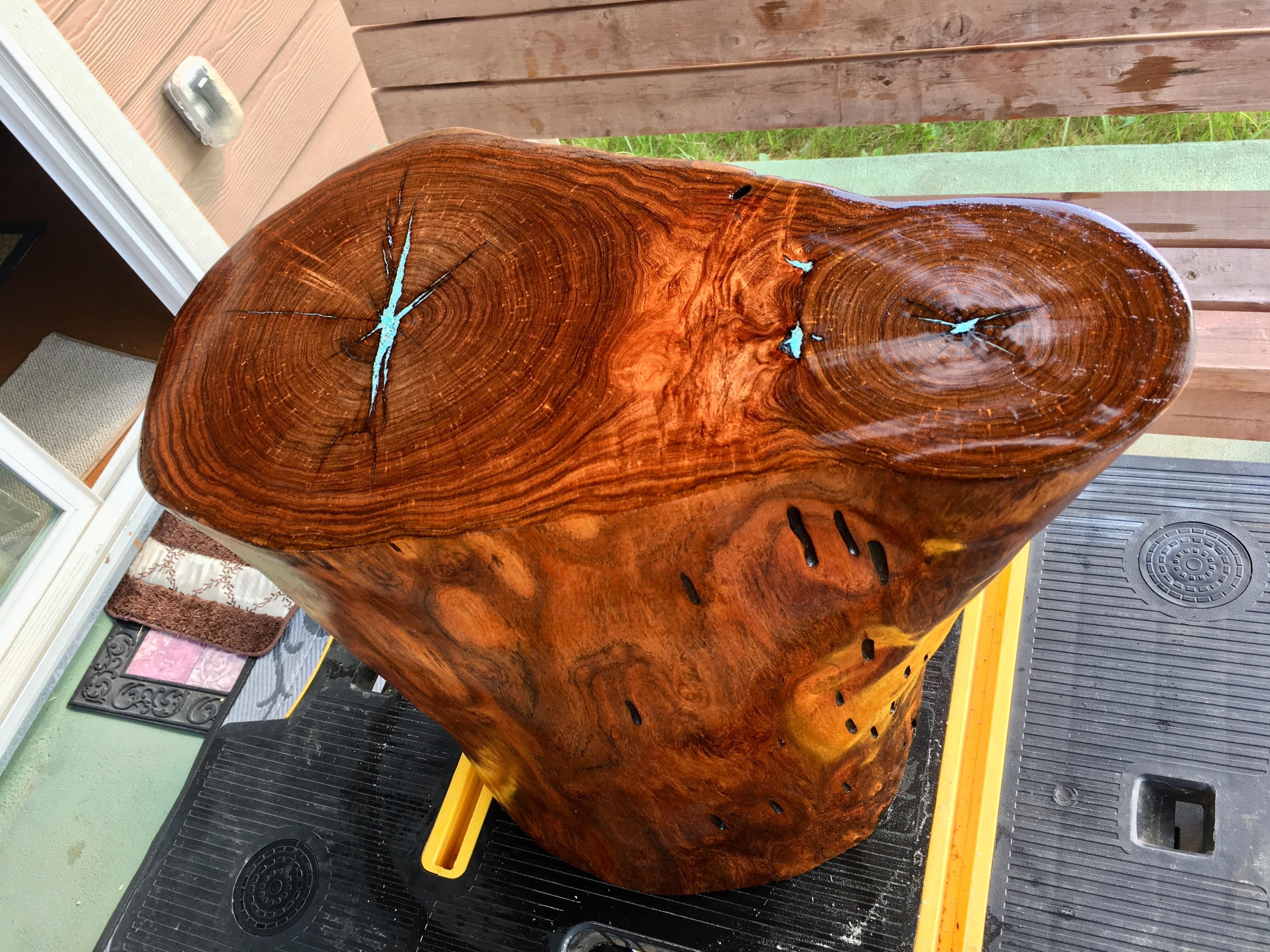 Solid Mesquite Tree Stump End Table Inlayed With Crushed Natural