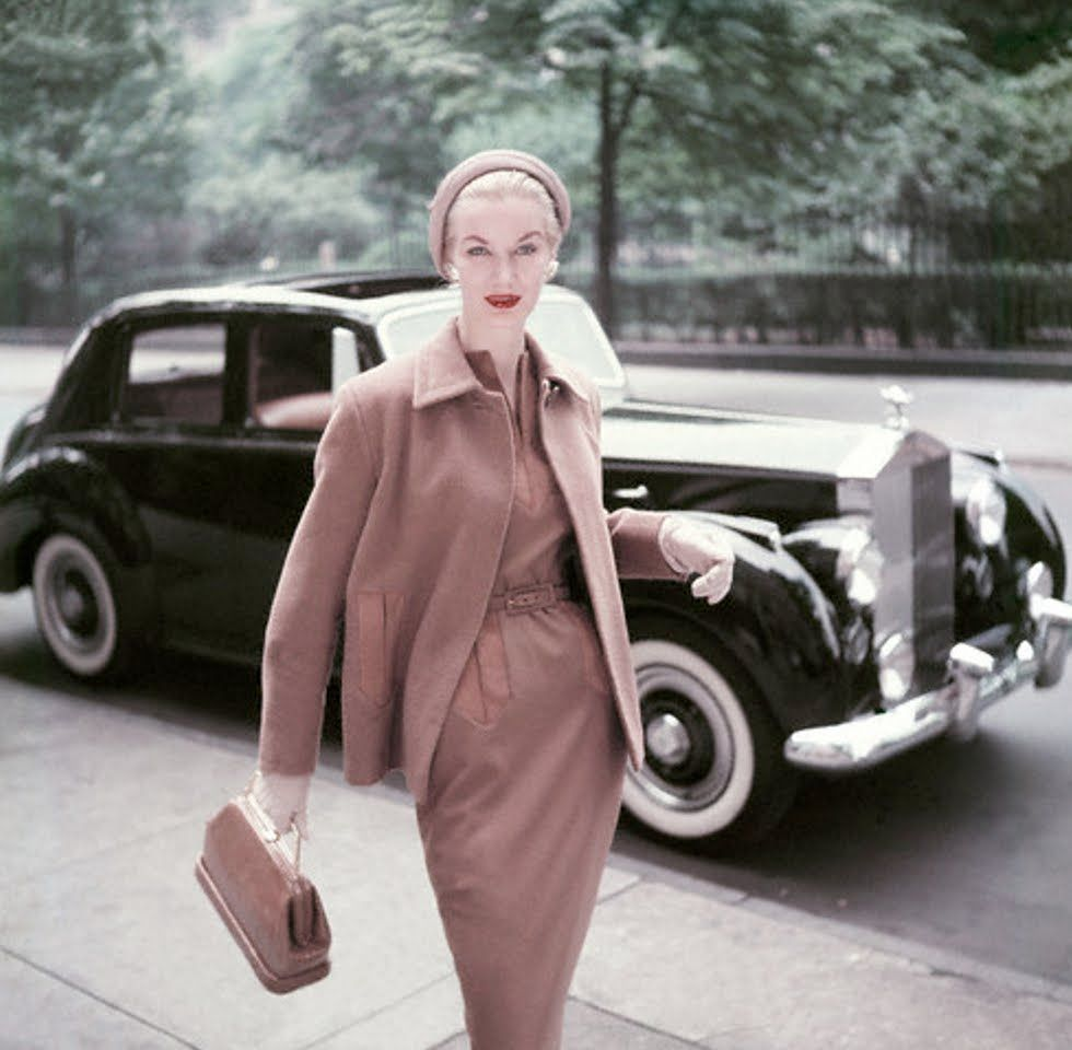 Sunny Harnett and her pet Rolls Royce in 1953