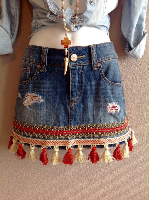 Photo of terra-cotta/pearl tassel embellishment, BoHo Chic, one of a kind, upcycled, eco-friendly, statement piece,  bohemian inspired denim skirt