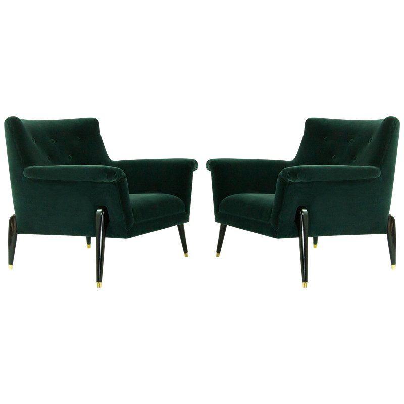 Dynamic Pair Of Midcentury Italian Lounge Chairs Circa