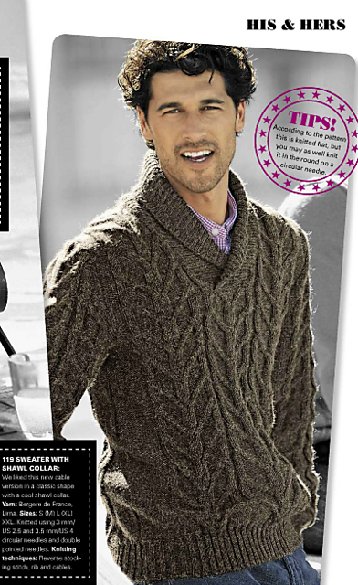 119 Sweater With Shawl Collar Pattern By Bergre De France